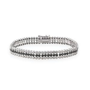Sterling Silver 3/4ct Black Diamond Three Row Tennis Bracelet