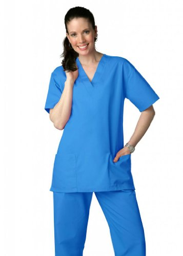Adar Universal Unisex Drawstring Scrub Set (Available In 39 Colors) - 701 - Electric Blue - 2X