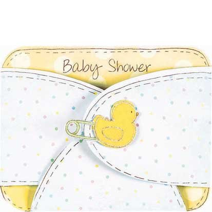 Baby Diaper Large Baby Shower Invitations, 8ct