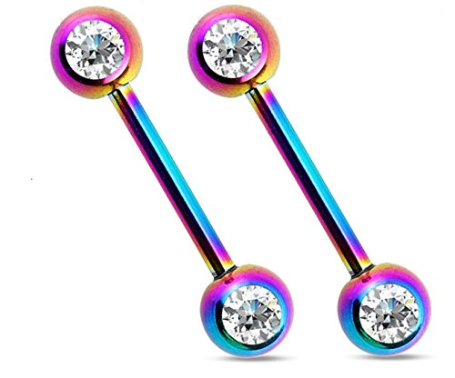 Titanium IP Double Cz Nipple Bars Barbells Rings – 14G 316L Stainless Steel – Sold as a Pair (Rainbow)