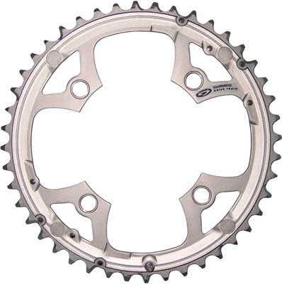 Shimano Deore 9sp chainring, 104BCD x 44t - sil