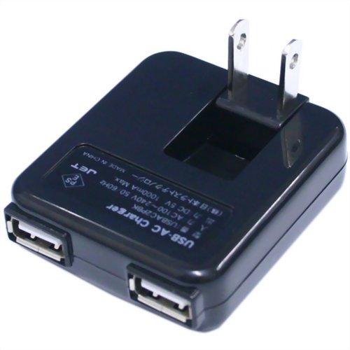 日本トラストテクノロジー USB-ACチャージャー 2ポート ブラック USBAC2PBK