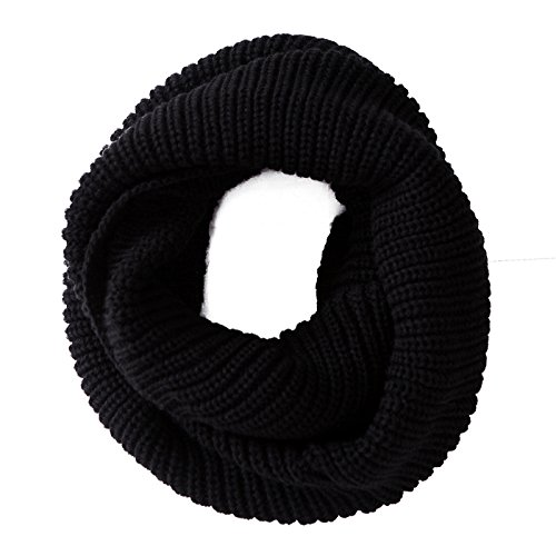 HDE Womens Knit Warm Winter Infinity Circle Scarf Shawl (Black)
