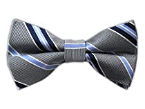 100% Silk Woven Silver Striped Self-Tie Bow Tie