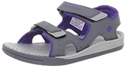 Columbia Sportswear Techsun Sport Sandal (Toddler/Little Kid/Big Kid),Light Grey/UW Purple,4 M US Big Kid