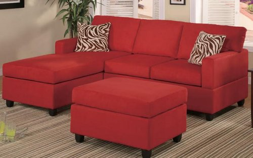 Poundex F7668 Red Microfiber Living Room Sectional Sofa