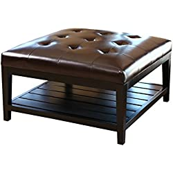 Abbyson Living Villagio Tufted Leather Square Coffee Table Ottoman, Dark Brown