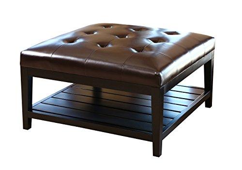 Abbyson Living Villagio Tufted Leather Square Coffee Table Ottoman, Dark Brown