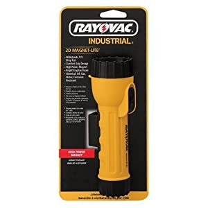 Rayovac 2D Industrial Yellow Flashlight with Krypton Bulb and Magnet