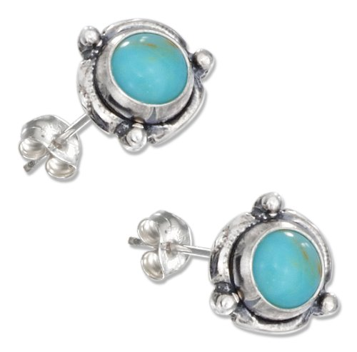 Sterling Silver Mini Flower Concho Turquoise Earrings on Posts