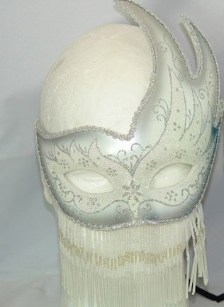 Venetian Mask Silver Beaded Party Mask Mardi Gras Mask