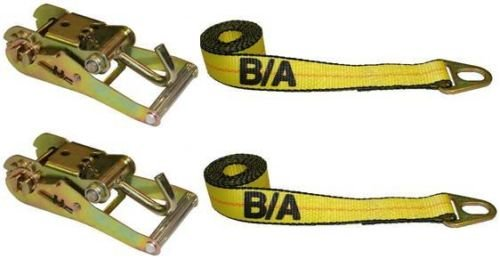 BA Products 38-20A-x2, 38-1A-x2, Set of 2 Straps with Grab Plates & 2 Wide Handle Ratchet with Finger Hook for Chevron Wheel Lift