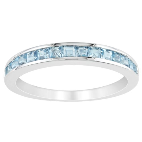 Sterling Silver 1 CT TGW Sky Blue Topaz Eternity Ring