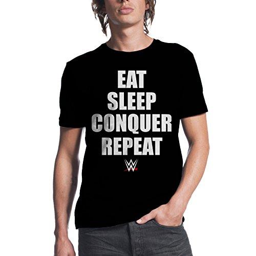 WWE Brock Lesnar Eat Sleep Conquer Repeat Mens Black T-shirt L