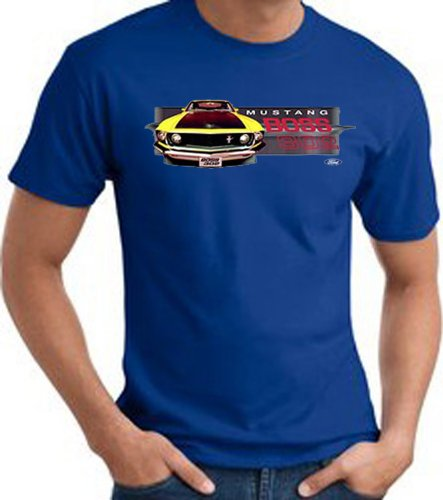 Ford Yellow Mustang Boss 302 Front Profile Classic Muscle Car Adult T-Shirt Tee - Royal, Small
