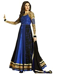 Kumud Kala Women Faux Georgette Lace and Resham Embroidered Unstitched Anarkali Suit