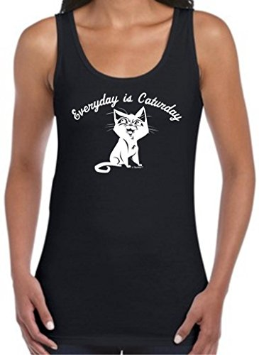Every Day Is Caturday, Cat Humor Juniors Tank Top Medium Black