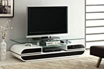 Hot Sale Furniture of America Glenn Contemporary TV Console/Stand, 63-Inch, Glossy Black and White