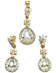 M Gold Designer 18k Gold Plated Diamond Pendant Set White PS62GJ For Women
