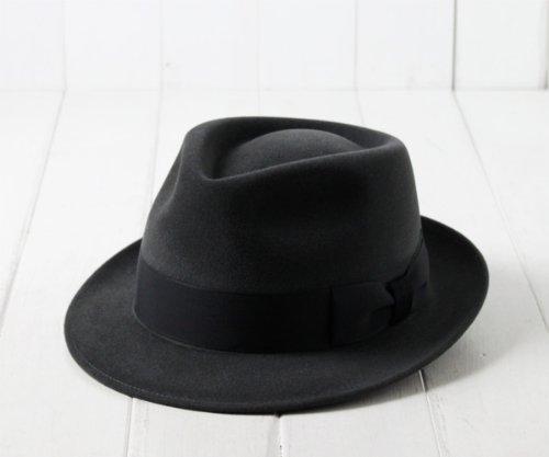 (フジハット) Fuji hat 日本製 ファーフェルト中折れハット[Kitton] PK338-398 チャコール 57cm 国産 中折れ帽 兎毛 フジコー 大きいサイズ メンズ 男性 紳士 高級 帽子