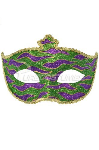 Mardi Gras Animal Print Adult Mask (Green)