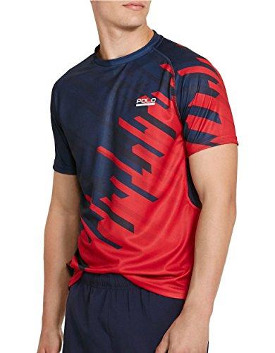 Polo Ralph Lauren Sport Men's Blue Micro-dot Jersey T-shirt (Medium, French Navy/Red)