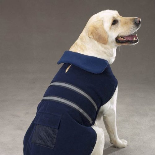 Large Blue Fleece Reflective Dog Safety Jacket