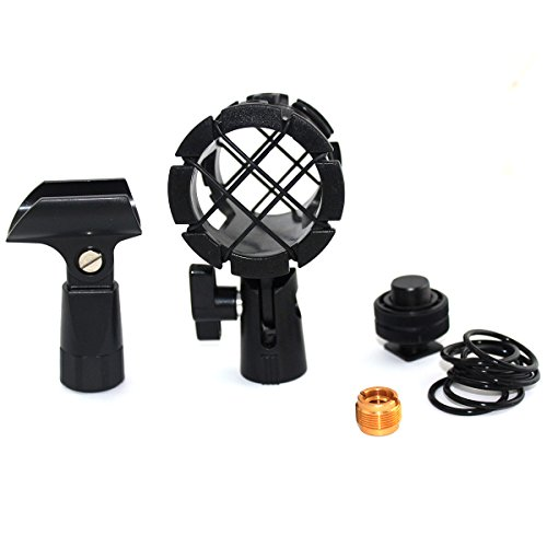 Foitech(tm) 5-in-1 Kit Camera Microphone Shockmount Holder Clip + Hot Shoe Mount + Small Clip+adapter for AKG D230, Senheisser Me66, Rode Ntg-2,ntg-1,audio-technica At-875r Etc (Mic Hot Shoe Mount compare prices)
