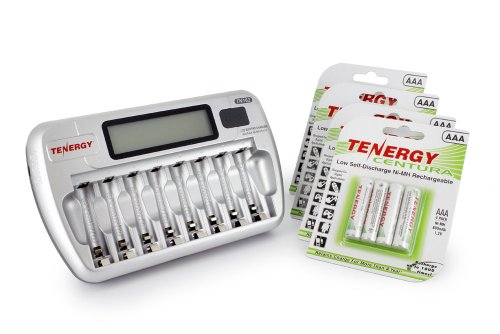 Combo: Tenergy TN162 8-Bay Smart LCD AA/AAA NiMH/NiCd Charger + 4 Cards: (16pcs) Centura AAA NiMH Rechargeable Batteries