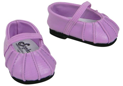 Baby Doll Shoes, Fits Bitty Baby by American Girl, Lavender Ballerina Flat for 15 Inch Dolls - 1