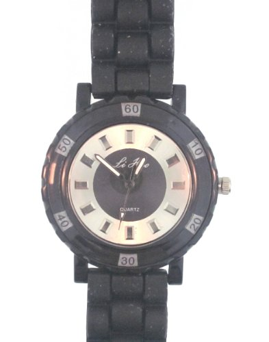 Black Silicone Rubber Gel Watch Link Look Ceramic Style Large Face. Color Of Face Coordinates With Band Color. Square Crystals In Place Of Numbers.