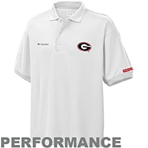 Columbia Men's Collegiate Perfect Cast Polo, UGA - White, Large