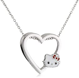 Hello Kitty by Simmons Jewelry Co. Sterling Silver Small Enamel Heart Pendant Necklace