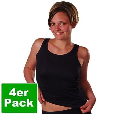 HERMKO 1310 4er Pack Damen Achselhemd aus 100% gekämmter Baumwolle, Naturfaser, Schadstoffgeprüfte Textilien nach Öko-Tex Standard 100, Tank Top, Unterhemd direkt ab Fabrik, trocknergeeignet