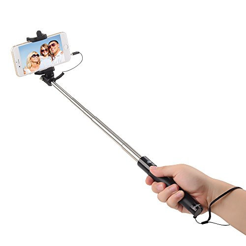 intcrown selfie stick extendable self portrait monopod black import it all. Black Bedroom Furniture Sets. Home Design Ideas