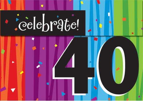 Creative Converting Milestone Celebrations Party Invitations, 8-Count, Celebrate 40