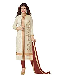 Off White and Maroon Colour Cotton Embroidered Salwar Suit Dress Material