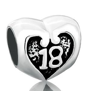 Pugster 925 Sterling 18 Message Heart Lover Bead Charm Brand Bracelet Love Lover Bead Fits Pandora