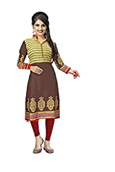 Vaamsi Women's PolyCotton Unstitched Kurti Fabric(KFD1031_Brown_Free Size)