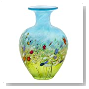 Robert Held Art Glass - Vase, Meadow Decorative Flat Flask