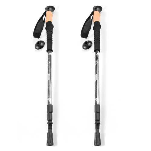 Outt(TM) Carbon Retractable Cork Handle Walking Hiking Pole Trekking Stick Ultralight (2pcs Black)