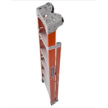 Louisville Ladder Cross-Step FXS1506 Fiberglass 300 lb Duty Rating Type IA Step/Shelf Ladder, 6, Orange