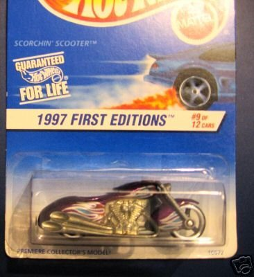 Mattel Hot Wheels 1997 First Editions 1:64 Scale Purple Scorchin Scooter Die Cast Motorcycle #009 - 1