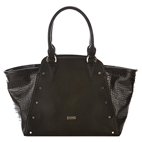 PINKO MISS JEANNE Borsa shopping a mano in multimateriali NERO