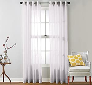 HLC.ME 2 Piece Sheer Window Curtain Grommet Panels, total width 108