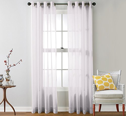 "HLC.ME 2 Piece Sheer Window Curtain Grommet Panels, total width 108"" x 84"" (274 cm x 213 cm) (White)"