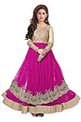 Clickedia Women's Net Salwar Suit- Dress Material (Pink& Gold Round)