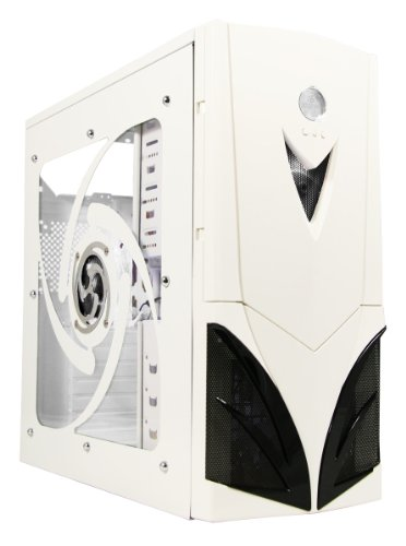 CiT Mars Midi Tower Part-Mesh Gaming Case with 2x White LED Fans and LED Display