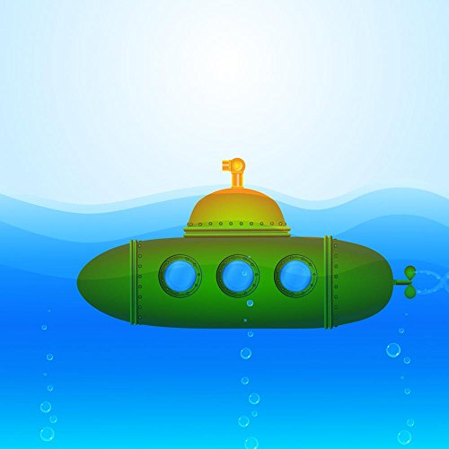 Wallmonkeys WM9862 Beautiful Vector Submarine Illustration Peel and Stick Wall Decals (24 in H x 24 in W)