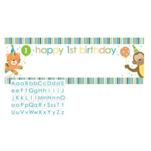 Creative Converting Sweet at One Boys Giant Party Banner with Customizable Stickers from Creative Converting